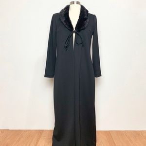 Vintage 90s Floor Length Trench Faux Fur S